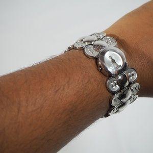 Silver button watch